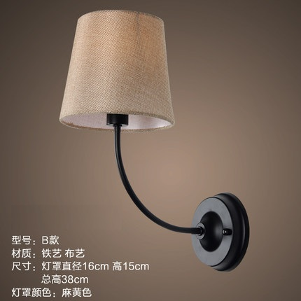 Bedside Wall Lamp Shades : ??Cloth Lamps Shade Iron Vintage ?? ?? Wall Wall Lamp American LED ? Wall Wall Light Fixtures ...