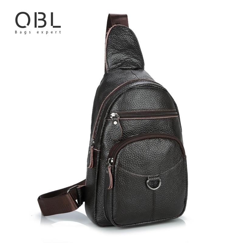 QiBoLu 2017 Hommes Sling Sac En Cuir Véritable D'épaule Simple Sac hommes Poitrine Sac Bandoulière Sac de Taille pour Homme Bolsas Masculina MBA43