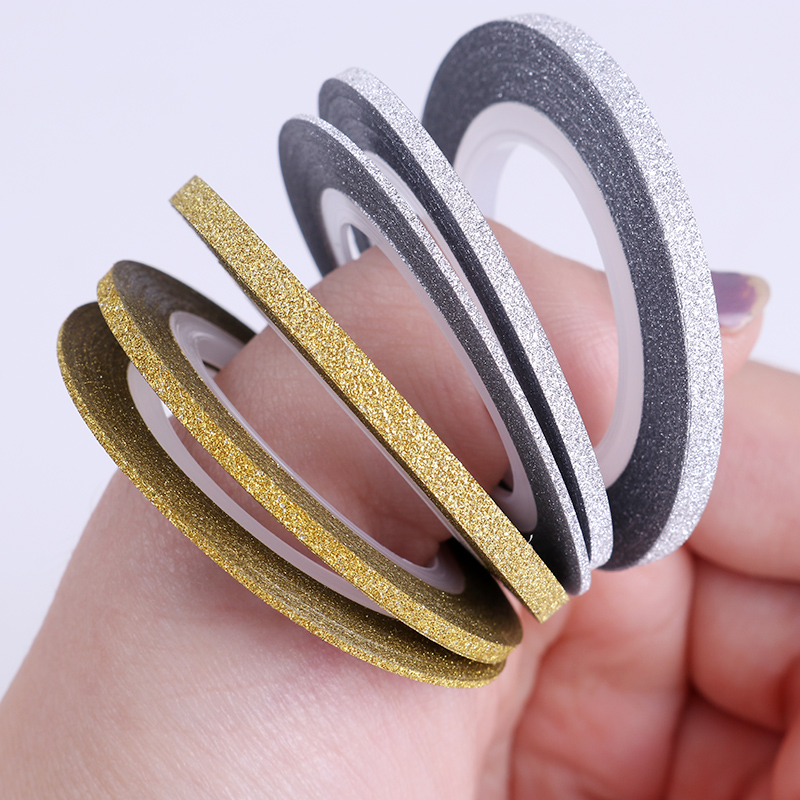3 Pcs Nail Striping 1mm 2mm 3mm Gold Silver Matte Glitter Tape Line Sticker Adhesive Decal Styling Manicure Nail Art Stamp Tool 14 rolls glitter scrub nail art striping tape line sticker tips diy mixed colors self adhesive decal tools manicure 1mm 2mm 3mm
