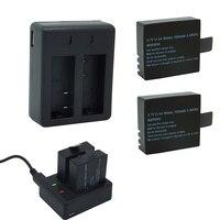 2*1050 мАч Батарея с двойной порт зарядное устройство, 3,7 В литий-ионный Резервное копирование Rechargeble для SJCAM SJ5000 vefly Спорт Камера DV экшен-камера