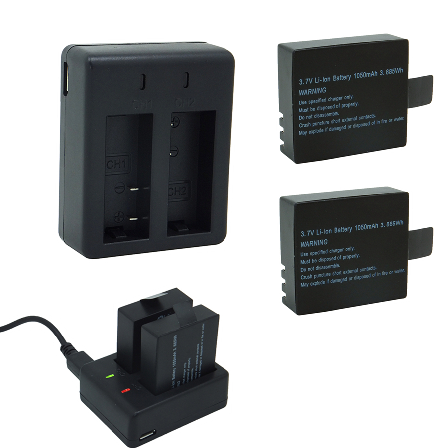 2*1050 mah bateria com carregador de porta dupla, 3.7 v li-ion backup rechargeble para sjcam sj5000 veifly câmera esporte dv ação cam