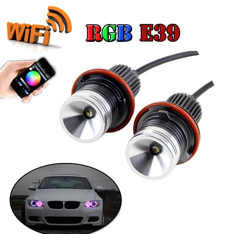 24W wifi RGB LED Angel Eyes 12V canbus LED marker halo ring bulb for BMW E60 E61 E63 E64 87 X3 E39 E53 E65 E66 No O.B.C Error new e39 rgbw ir remote control led marker angel eyes for bmw e87 e60 e61 e63 e64 e65 e66 e53 e83 x5 rgb color changing lighting