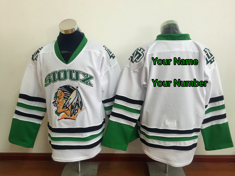 SexeMara Custom Black Friday UND University North Dakota Fighting Sioux Jerseys Mens Black White Green Hockey Jersey Any Name