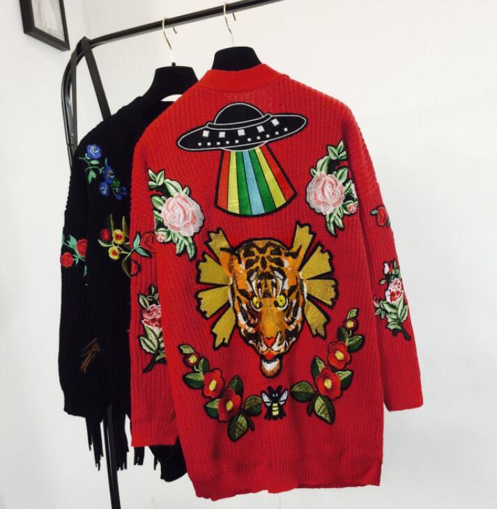 2018 Tigre Long Nouveau De Manteau Noir Chandail Brodé Tête Femmes rouge Col Fleur Lâche V Tricoté Automne Cardigan Hiver rIqrdvwYx