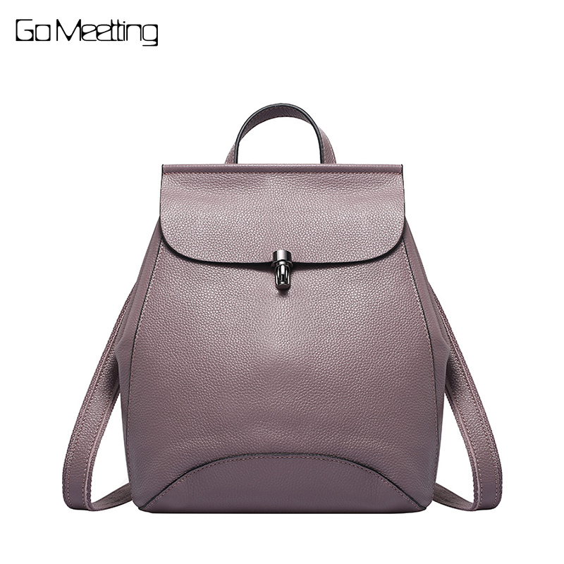 Nature Genuine Leather Holiday Women Backpack With Preppy Style Schoolbag For Girls Fashion Travel Knapsack Ladies Backpacks