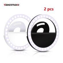 Yizhestudio 2 шт USB зарядка Портативный Кольцевая вспышка светодиодный фон для фотографии с изображением светодиодный селфи с кольцевым усилением света для телефона компьютера