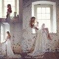 Moda Anna Campbell Vestido de Boda de Playa 2016 de Encaje Sin Espalda Pura Vestidos de Novia Con El Arco Más Tamaño robe de mariage WB037