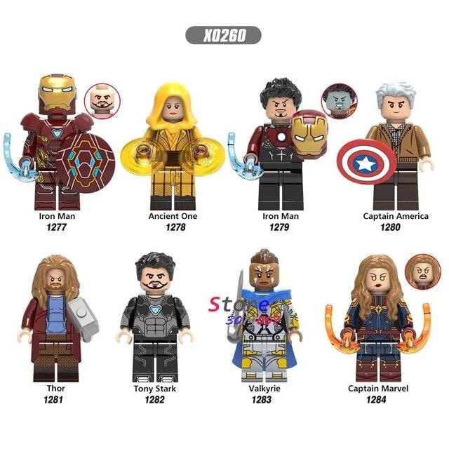 Endgame único Avengers Homem De Ferro Antigas Um Capitão América Thor Marvel Tony Stark Valkyrie Figura blocos de construção de Brinquedos Infantis