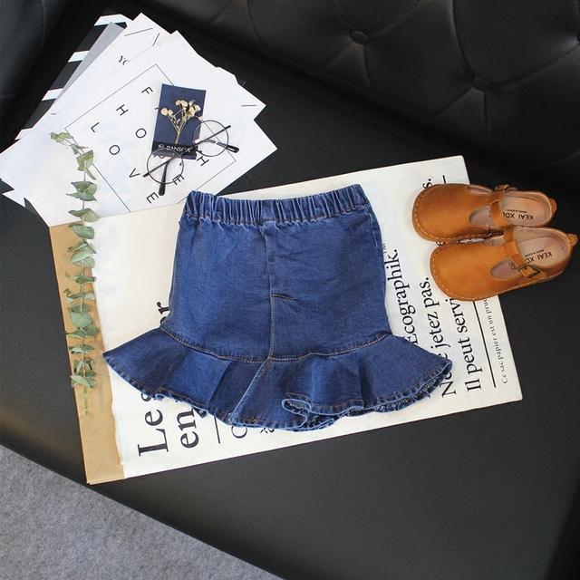 2017 nueva moda de primavera y otoño de la muchacha niños del todo-fósforo falda vaquera falda de volantes cuerpo Salvaje hoja de loto falda al por menor
