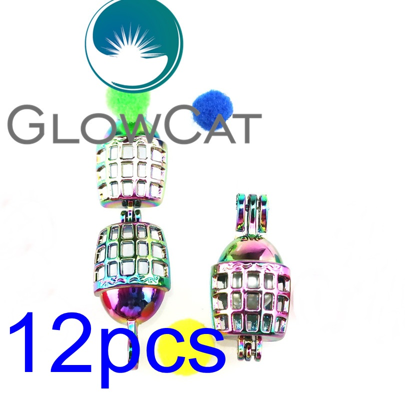 GLOWCAT 12x R-C638 Rainbow Football Helmet Pearl Cage Jewelry Making Essential Oil Diffuser Beads Cage Locket Pendant