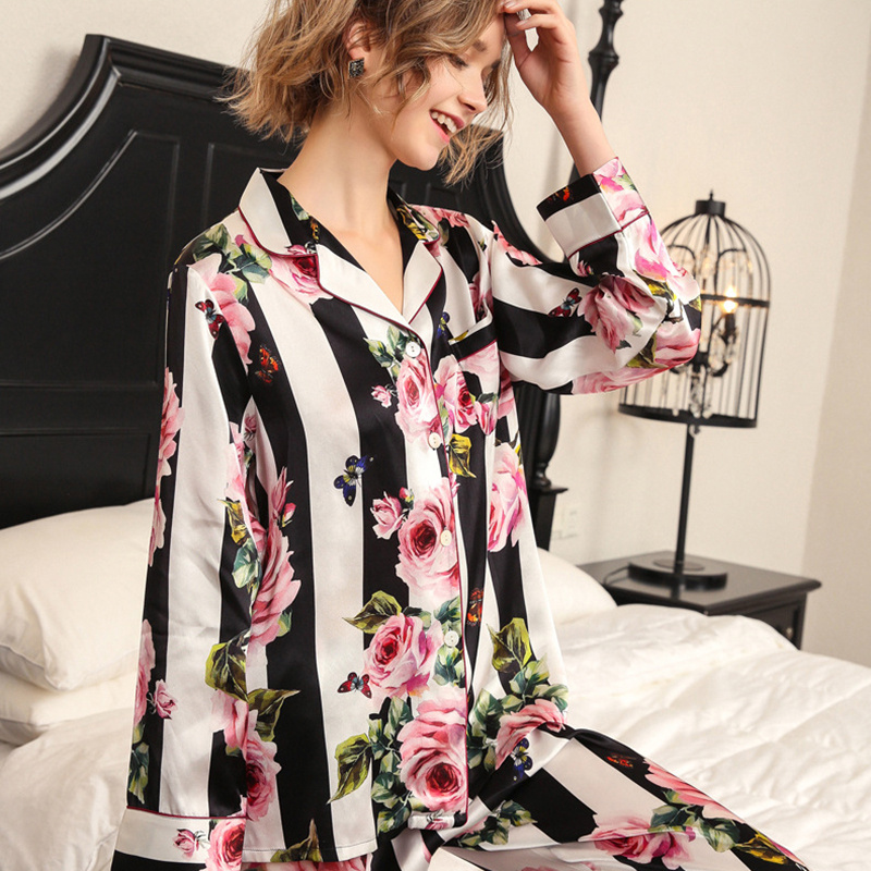 2020 New Real Silk Pajama Sets Female Romantic Rose Striped Silkworm Silk Long-Sleeve Two-Piece SILK Woman's Sleepwear T8184