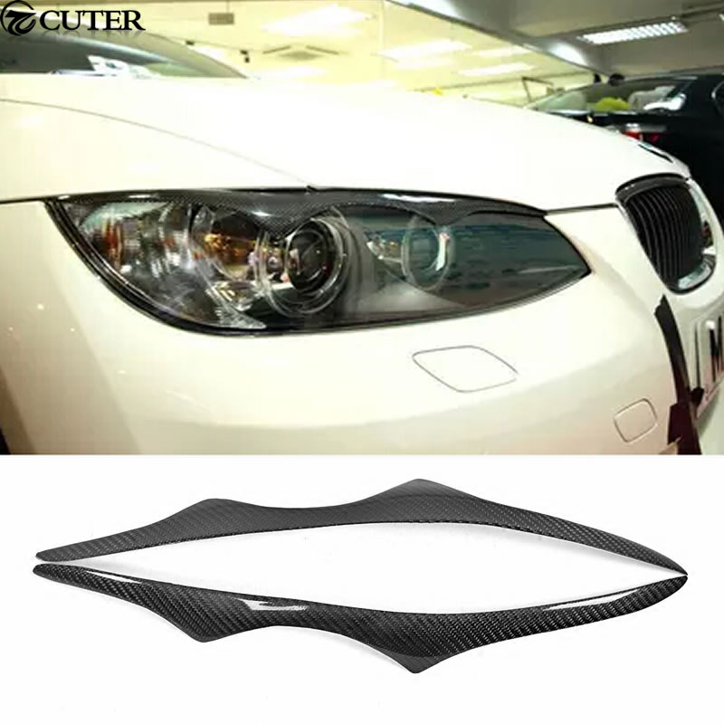 E92 M3 Carbon Fiber Headlight Cover Trim Eyebrows for BMW 3 Series E92 M3 Coupe 08-13 free shipping carbon fiber headlight covers eyelids eyebrows fit for mazda 6 vi ruiyi 09 13