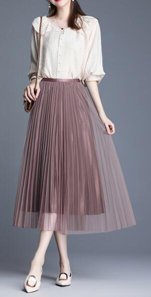 Tulle Skirts Womens Midi Pleated Skirt Black Pink Tulle Skirt Women 2019 Spring Summer Korean Elastic High Waist Mesh Tutu Skirt