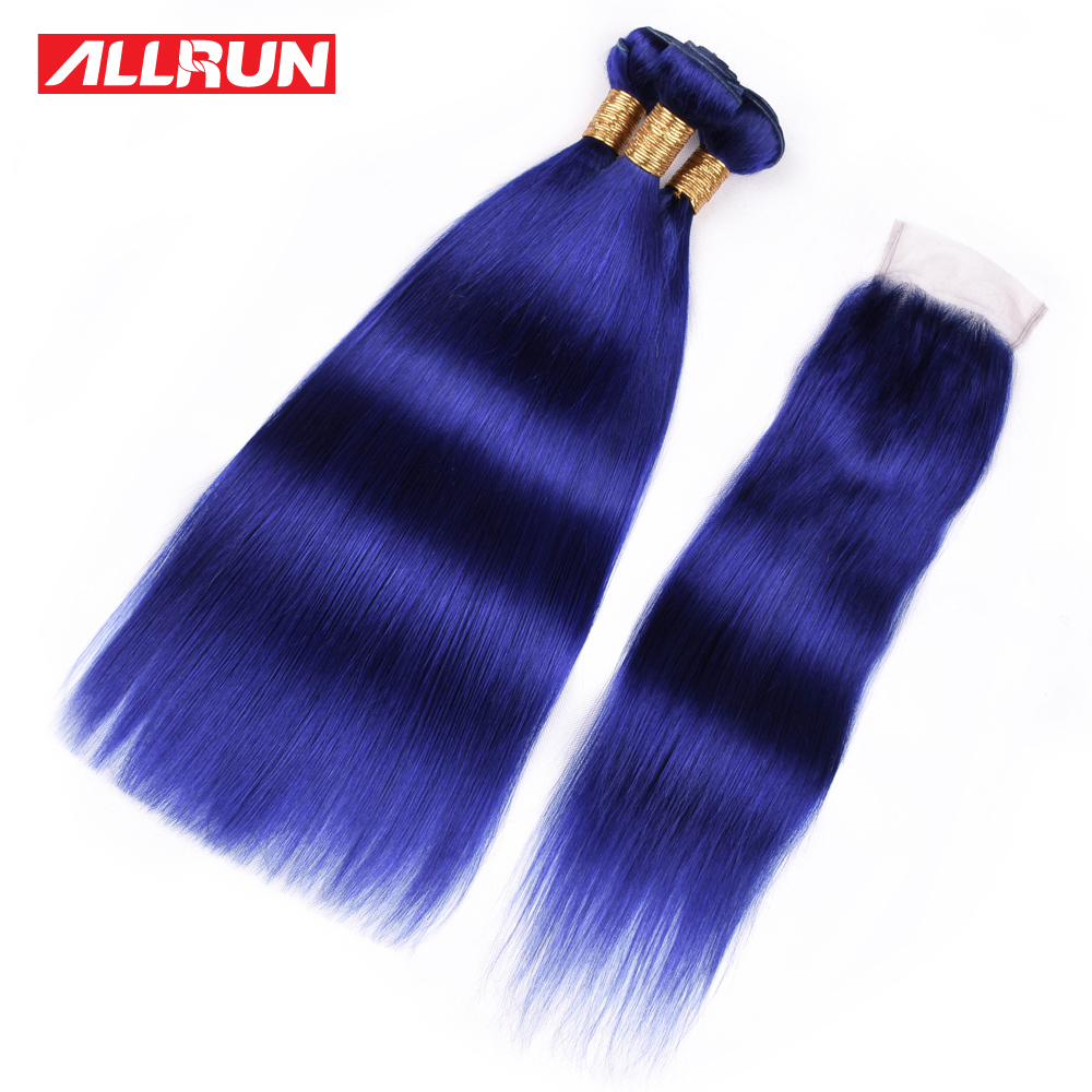 ALLRUN Hair Brazilian Straight Lace Closure Free Part Blue Color 3 PCS Human Hair Bundles With Closure Swiss Lace Remy Hair