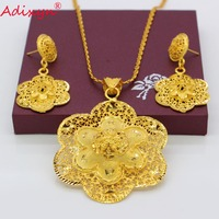 Adixyn 3 Style Gold Color/Copper Necklace/Earrings/Pendant Bridal Wedding Jewelry Set African/EthiopianParty Gifts N082623
