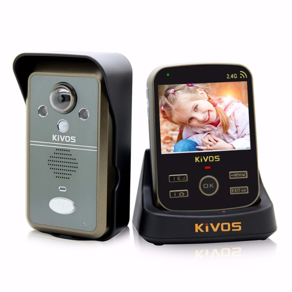 KiVOS Wireless Video Door Phone Intercom 3.5 Inch TFT Monitor Night Vision Camera Take Picture Remote Unlocking Security System tmezon 4 inch tft color monitor 1200tvl camera video door phone intercom security speaker system waterproof ir night vision 1v1