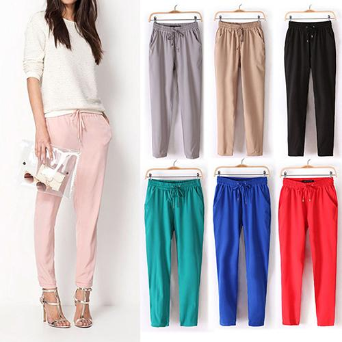 2019 Newest Women's Casual Solid Color Drawstring Elastic Waist Chiffon Trousers Harem Pants