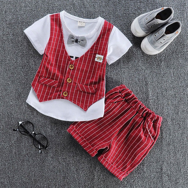 d50daa32d21 Formal Clothing Sets For Newborn Baby Boy Striped Letter Clothes Infant 1  Year Birthday Party Cloth Fashion Outfit Wear Boys Set