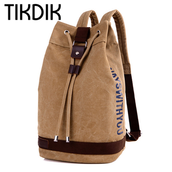 Vintage Casual Drawstring backpack canvas bucket bag Large capacity Unisex Fashionable Solid Concise bags Schoolbag for teenage
