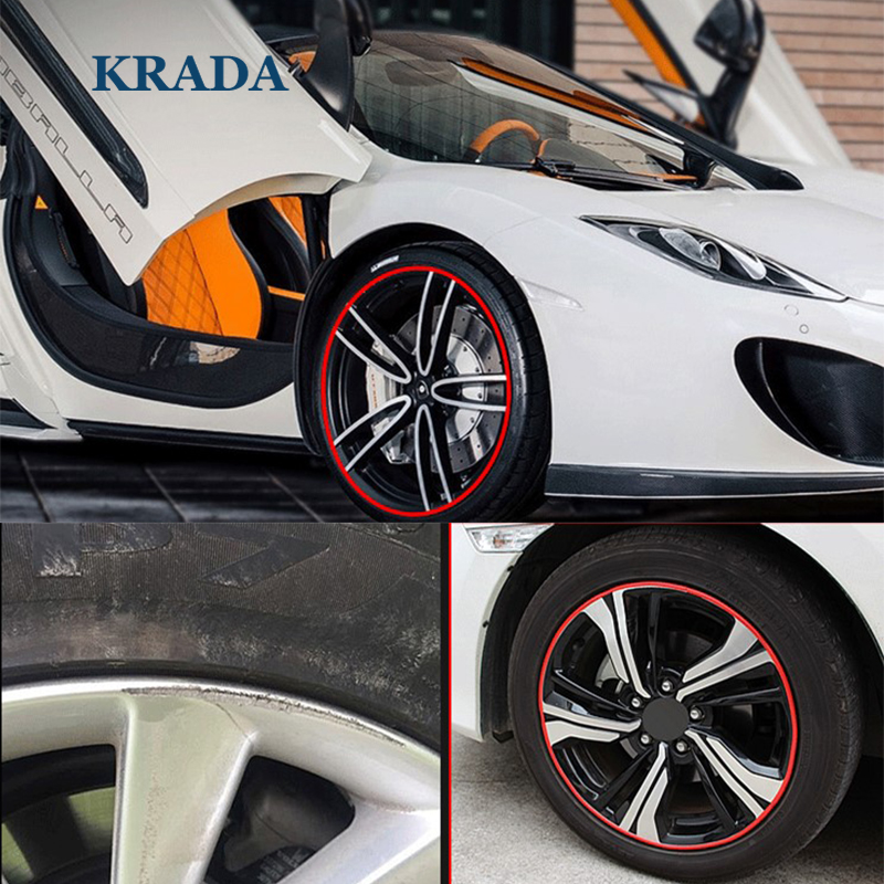 KRADA Car Styling Stickers Wheel Trim Decorative for Audi A5 A4 B8 B6 B7 B5 A3 Q7 Q5 1 A6 C5 C6 Tt Q3 Toyota Trd Fiat 500 Punto