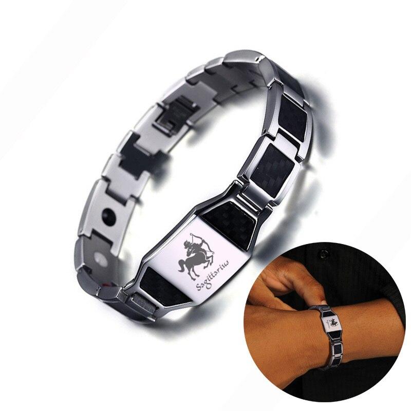Gravura 12 constelações masculino aço inoxidável preto fibra de carbono e 4 elemento bio terapia magnética pulseira jóias