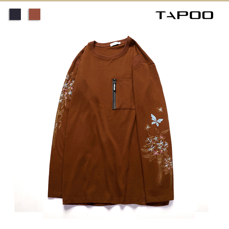 2019 new men's large size casual long sleeved T shirt extra large size 75kg 150kg embroidered printed cotton long sleeved shirt