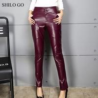 SHILO GO Leather Pants Womens Autumn Fashion sheepskin genuine leather Pants high waist wine red office OL concise pencil pants