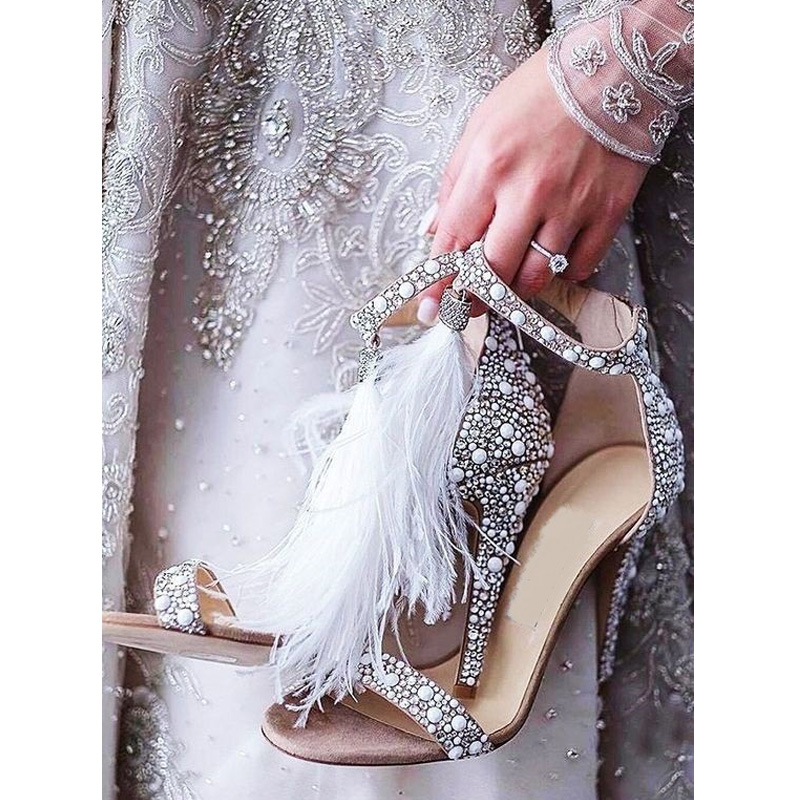 Brand Women Sandals Summer Shoes High Heels Rhinestone Pearl Woman Wedding Shoes Peep Toe Ankle Strap Female Sandals Plus Size in High Heels from Shoes