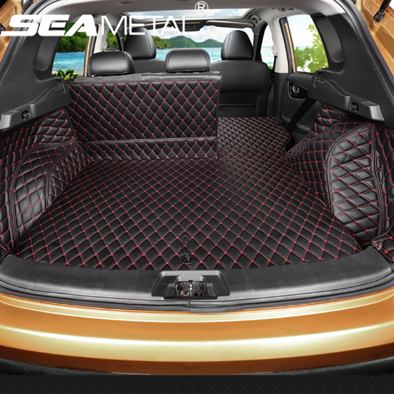 For Nissan Qashqai J11 2014 2015 2016 2017 Custom Car Trunk Mat Cover Waterproof Leather Carpet No Smell Interior Accessories custom fit car trunk mat for nissan altima rouge x trail murano sylphy versa tiida 3d car styling tray carpet cargo liner