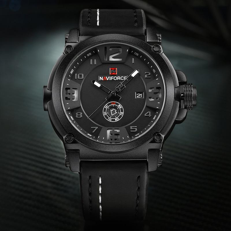 Image 2 - NAVIFORCE 9099 Mens Watches Top Brand Luxury Sport Quartz Watch Leather Strap Clock Men Waterproof Wristwatch Relogio Masculino-in Quartz Watches from Watches