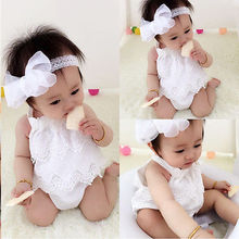 2016 NEW Arrive Infant Baby Girls Clothes Lace-up Dress Jumpsuit Romper Outfits 0-18M Fress Shipping