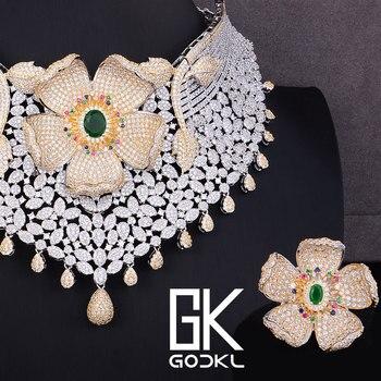 8d62bf924fbd GODKI lujo Cubic Zircon nupcial joyería conjuntos para mujeres boda indio  collar pendientes brazalete anillo parure bijoux Mujer
