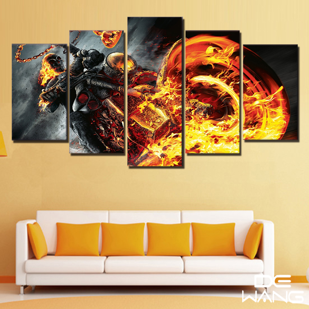 5 Panel Canvas Wall Art Set Home Decor Printed Ghost Rider Painting ...
