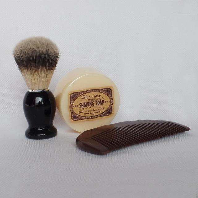 Shaving Brush Set with Wood Beard Comb Shaving Soap