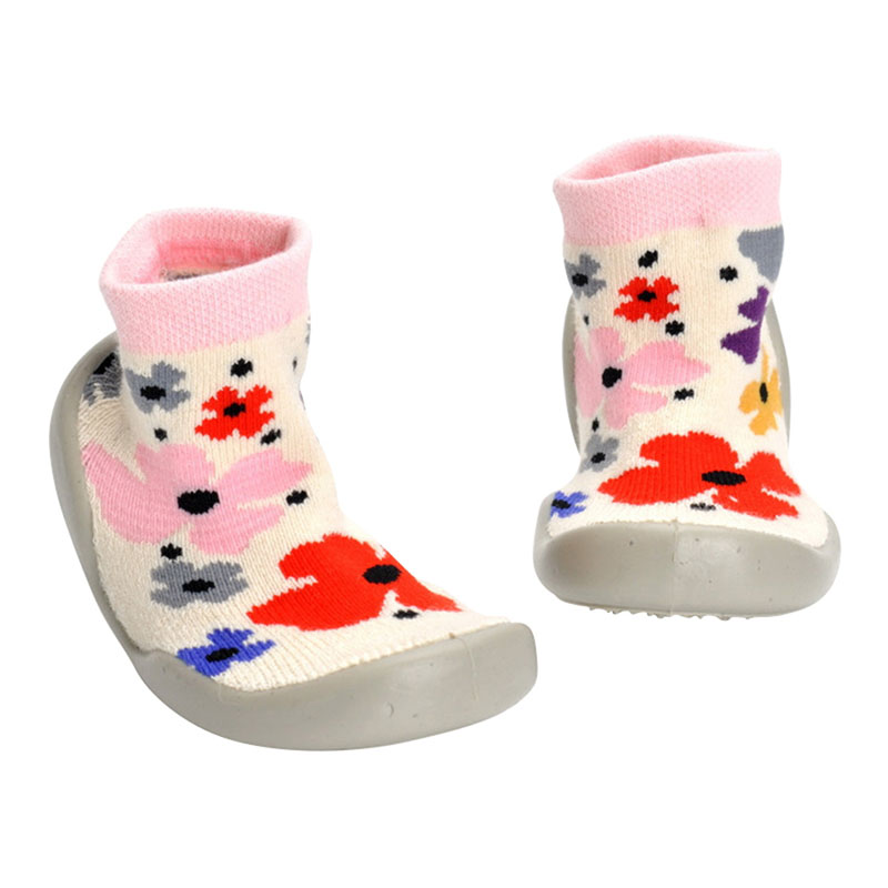Newborn Anti Slip Girls' Boys' Socks With Rubber Printed Flower Panda Soles Toddler Indoor Floor Shoes Infant Socks Soft Bottom fashion infant lace baby girls shoes princess toddler soft soles first walkers shoes 12cm