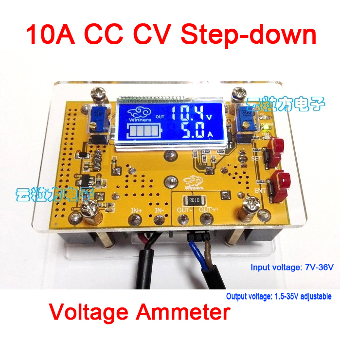10A DC-DC Buck Converter Adjustable CC CV 7V-36V Step-down To 1.5-35V Power Supply Voltage Regulator 12v 5v + LCD Volt Ammeter