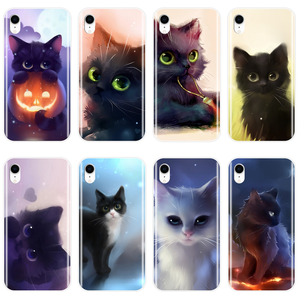 Cute Cat Cartoon Soft Silicone Phone Case For Apple iPhone 6 S 6S 7 8 X XR XS Max Back Cover For iPhone 8 7 6S 6 S Plus Case