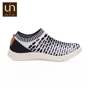 Image 5 - حذاء رياضي غير رسمي منسوج من UIN Sicily 2 للرجال ألوان أسود/أبيض أحذية رياضية بدون كعب يسمح بمرور الهواء