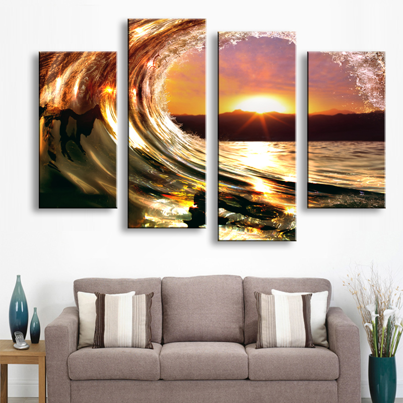 Painting & Calligraphy Print Wave Landscape Canvas Poster