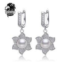 FENASY Perla pendientes de la Joyería, naturales de La Perla con Los pendientes circulares, regalo para Las Mujeres de moda pendientes de alta calidad con la caja