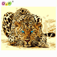 DPF DIY Oil Painting Desert The Leopard Paint On Canvas Acrylic Coloring By Number Painting For