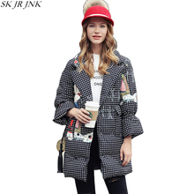 Cartoon Print Plaid Thicken Warm Down Wadded Jacket 2017 Winter Women Parkas Female Wadded Overcoat Plus Size Long Coat WQ325