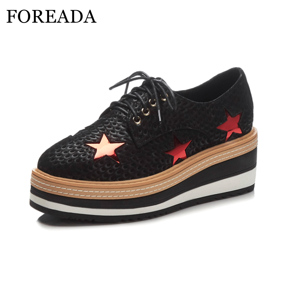 FOREADA Women Sneakers Genuine Leather Shoes Platform Flats Shoes Spring Creepers Bling Stars Lace Up Shoes Spring Black Flats hizcinth 2018 spring women shoes shallow lace up square toe single shoes woman geometric stars casual flats platform shoes