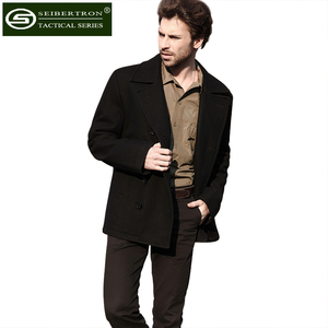 Image 5 - New Mens Woolen coat US Navy Type 80% Wool USN Pea Coat Leisure jacket Wool Blends Black Blue