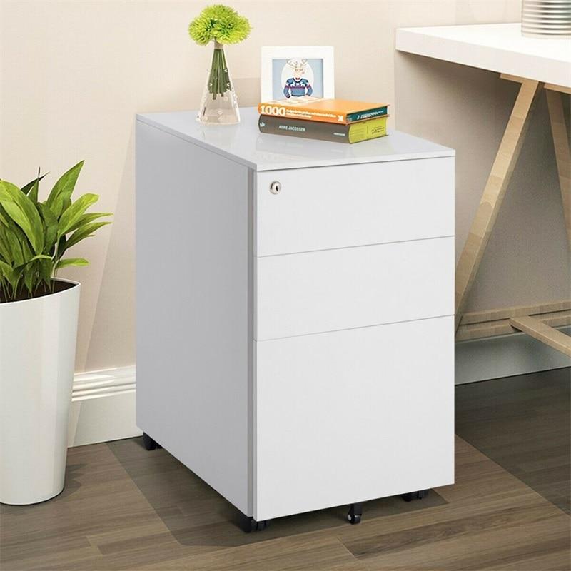 3 Drawer Filing Cabinet Locking Pedestal Desk Lockable File Cabinet With 2 Keys Durable Steel Construction Documents DeskHW61167