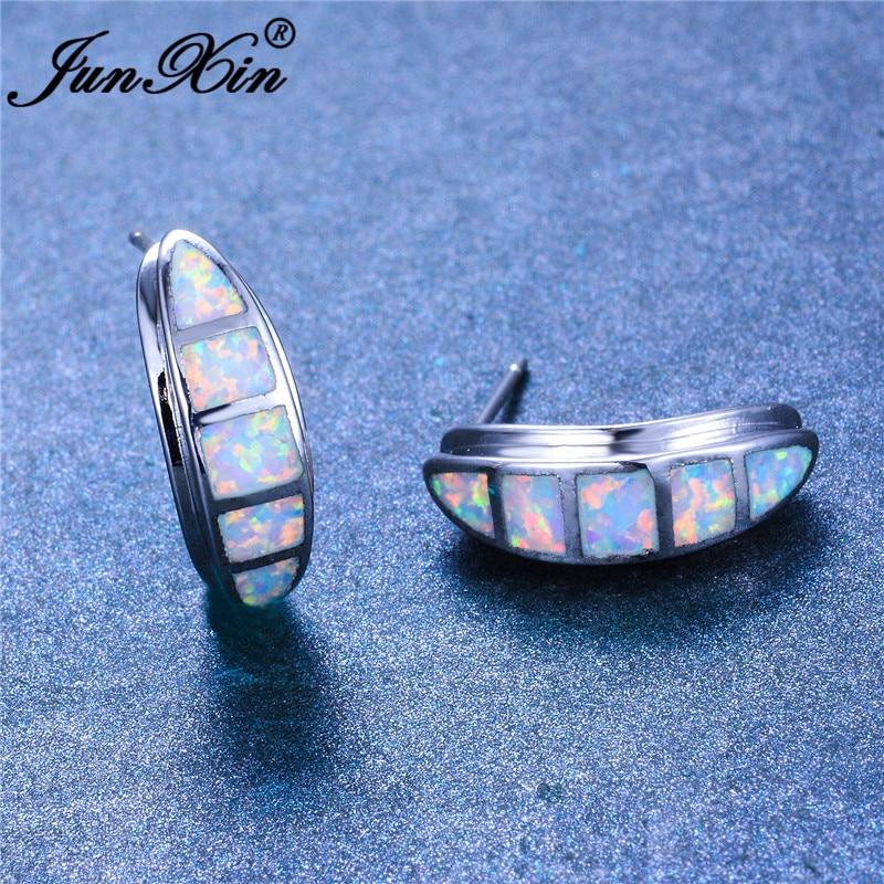 JUNXIN Blue White Fire Opal Earrings For Women Men Bar Stud Earrings Silver Color Minimalist Wedding Party Piercing Jewelry