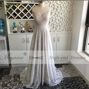 Image 2 - Mryarce 2019 Boho Chic Wedding Dresses Spaghetti Straps Twist Lace Chiffon A Line Open Back Bohemian Dress Bridal Gown