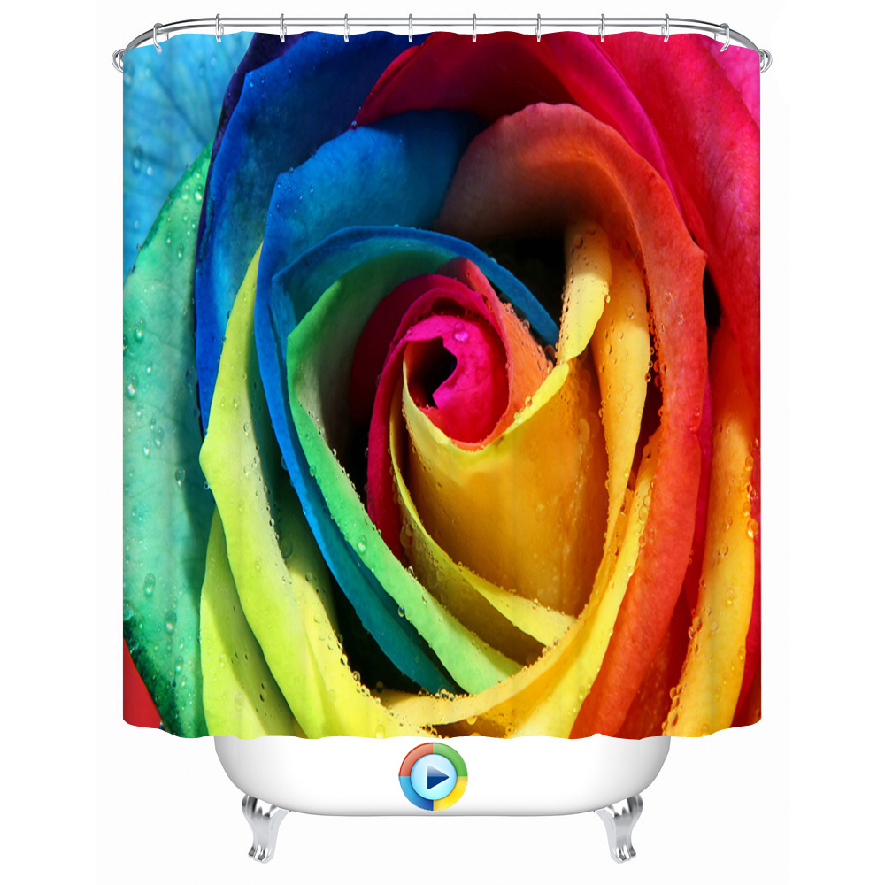 polyester colorful rose flower shower curtain personality waterproof rideau eco friendly curtains partition window blind cortina - Rideau De Douche Color