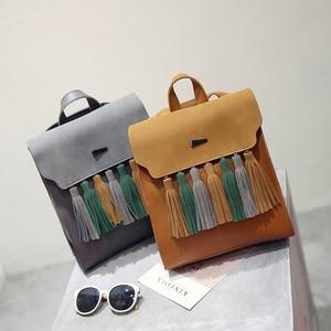 Image 2 - Toposhine Fashion Tassel Hit Color Square Girls Backpack Scrub PU Leather Women Backpack Fashion School Bags 1617