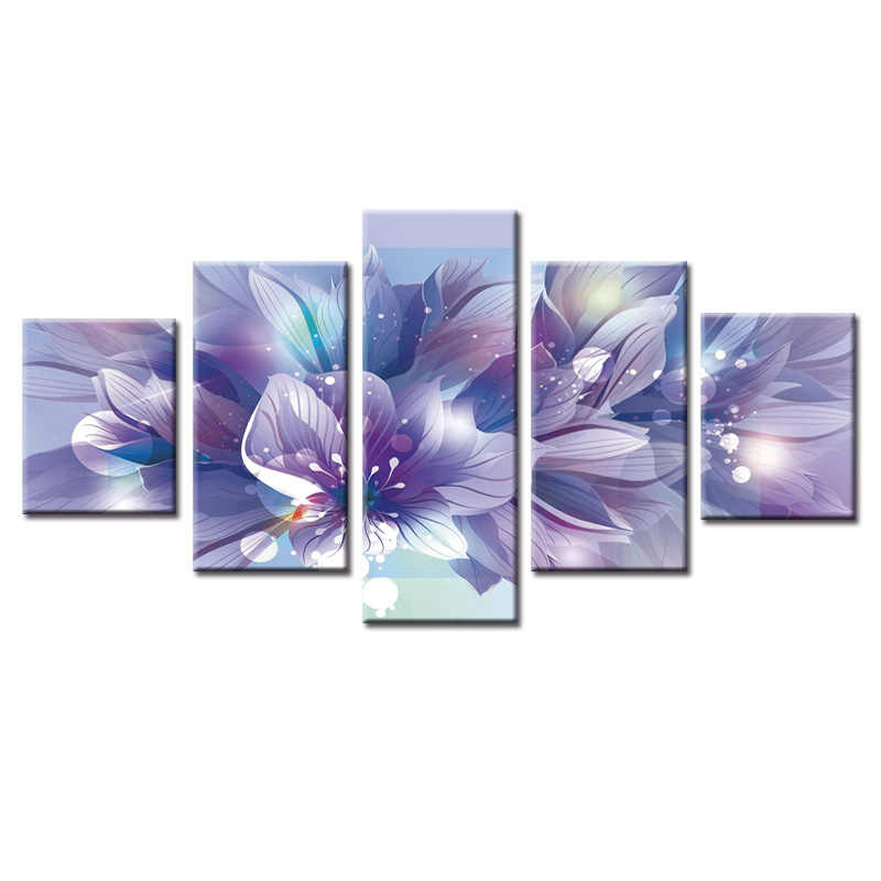 Modern Flower paintings 5 piece large canvas print wall art modular painting on decoration oil paint decorative pictures